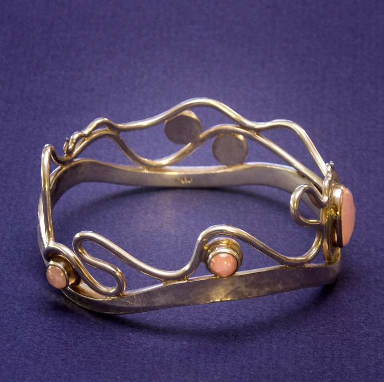 Sterling  Bracelet with Rose Quart Side View
