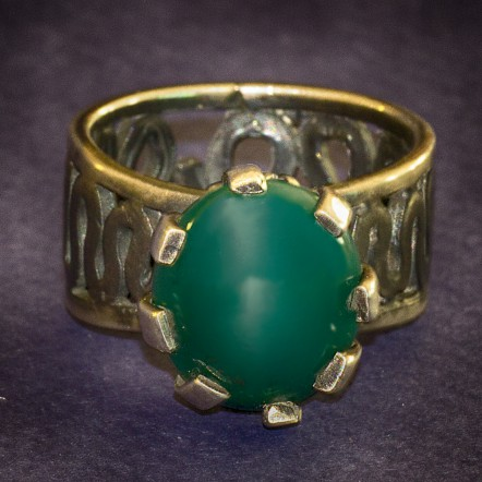 Renaissance Inspired Green Agate Ring